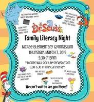 Tomorrow is Dr. Seuss Family Literacy Night!!!