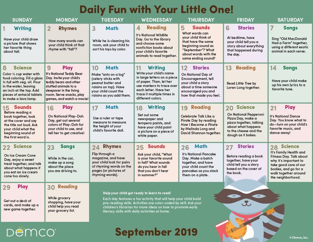 sept lit activity calendar