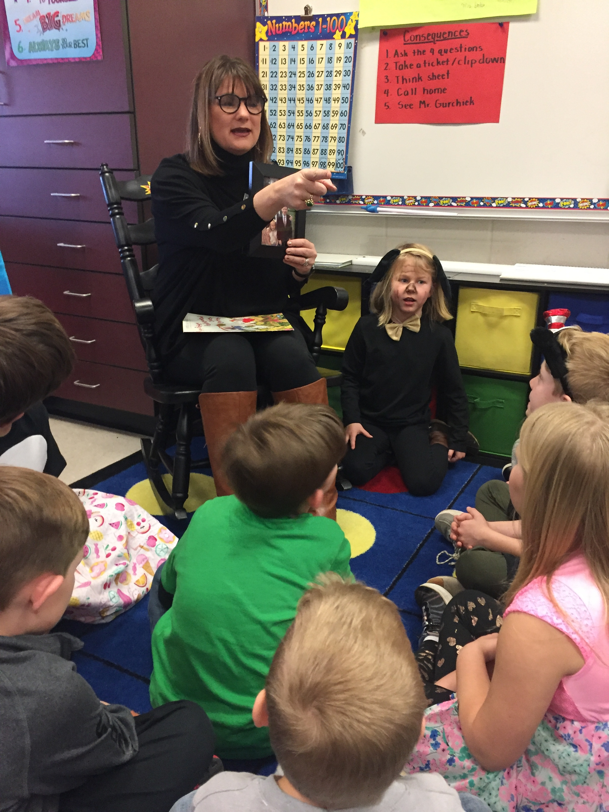 Mrs. Bailey read to Mrs.Hopper's Class for World Read Aloud Day!